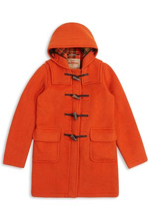 Women Duffle Coat - Artisanal Orange Wool Women's Water Repellent Duffle Coat Large Burrows & Hare