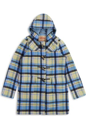 Artisanal Blue Wool Women's Water Repellent Duffle Coat - Tartan Large Burrows & Hare