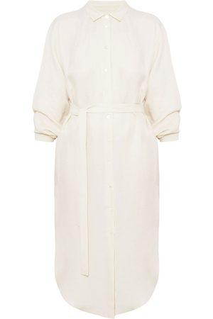 Women Casual Dresses - Women's Artisanal Natural Cotton Anri Midi Linen Cupro Shirt Dress M/L unlined