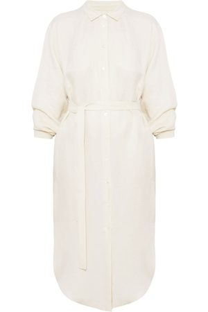 Women Casual Dresses - Women's Artisanal Natural Cotton Anri Midi Linen Cupro Shirt Dress XS/S unlined