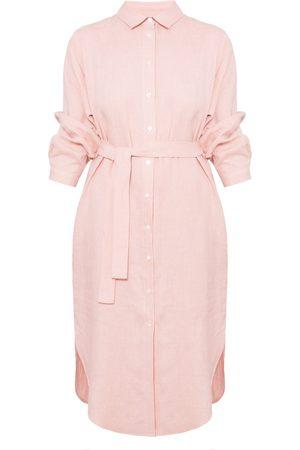 Women Casual Dresses - Women's Artisanal Pink Linen Anri Midi Shirt Dress M/L unlined