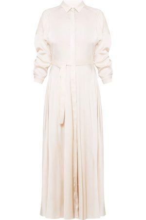 Women's Artisanal Natural Cotton Blanca Maxi Shirt Dress Medium unlined