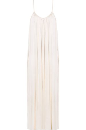Women's Artisanal Natural Cotton Lucia Flowing Maxi Slip Dress M/L unlined