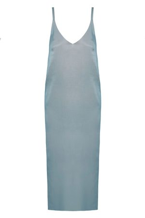 Women's Artisanal Blue Cotton Hani Cupro Midi Slip Dress Medium unlined