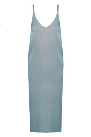 Women's Artisanal Blue Cotton Hani Cupro Midi Slip Dress XS unlined