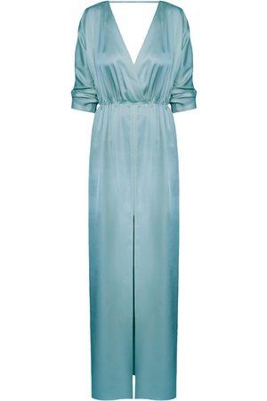 Women's Artisanal Blue Cotton Cecilia Oversized Kimono Sleeve Maxi Dress XS/S unlined
