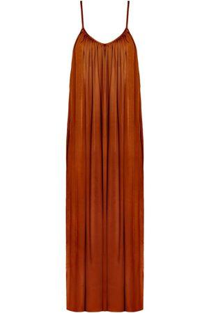 Women Casual Dresses - Women's Artisanal Brown Cotton Lucia Flowing Maxi Slip Dress M/L unlined