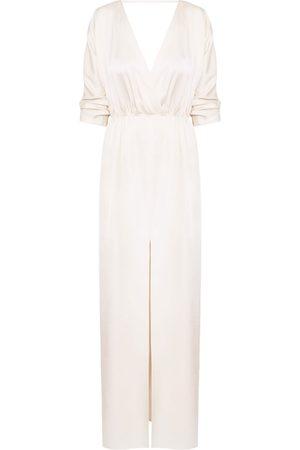Women Casual Dresses - Women's Artisanal Natural Cotton Cecilia Oversized Kimono Sleeve Maxi Dress XS/S unlined