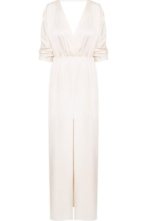 Women's Artisanal Natural Cotton Cecilia Oversized Kimono Sleeve Maxi Dress M/L unlined