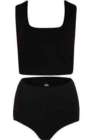 Women Sweats - Women's Artisanal Black Cotton Rae Matching Set In Medium GUARDI