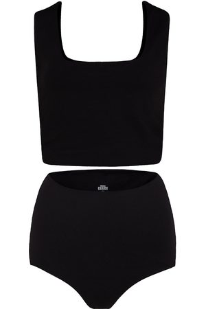 Women's Artisanal Black Cotton Rae Matching Set In Small GUARDI
