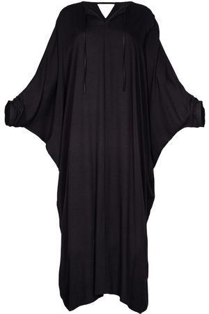 Women Tunic Dresses - Women's Artisanal Black Fabric Viscose Long Kaftan Dress Alya XL/XXL AZOiiA
