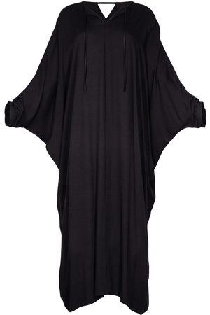Women's Artisanal Black Fabric Viscose Long Kaftan Dress Alya S/M AZOiiA