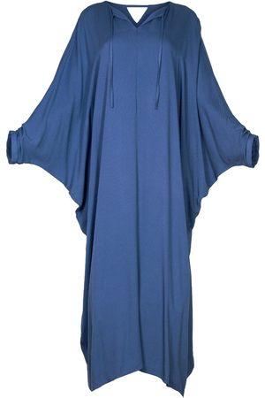 Women Maxi Dresses - Women's Artisanal Blue Fabric Maxi Kaftan Dress With Sleeves Alya L/XL AZOiiA