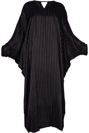 Women Tunic Dresses - Women's Artisanal Black Silk Blend Kaftan Dress With Sleeves Alya L/XL AZOiiA