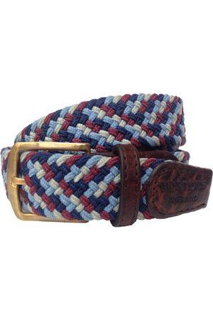 Men Belts - Men's Non-Toxic Dyes Burgundy Brass Foxton Belt - , Navy & Sky Small Hortons England