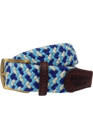 Men Belts - Men's Non-Toxic Dyes Blue Brass Foxton Belt - Sky, Navy & White Large Hortons England