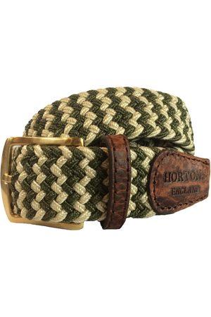 Men Belts - Men's Non-Toxic Dyes Green Brass Buckingham Elasticated Belt XL Hortons England