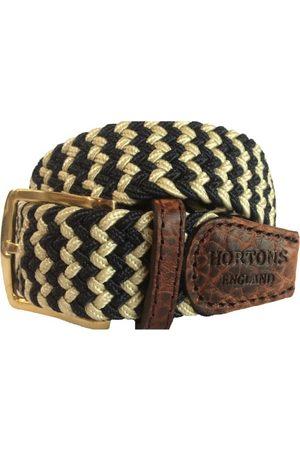 Men's Non-Toxic Dyes Black Brass Buckingham Elasticated Belt XL Hortons England