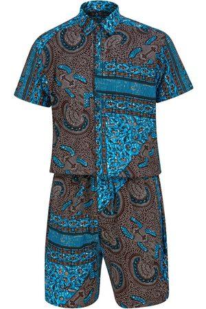 Men's Artisanal Blue Cotton Kobby Bandana Print Shorts Jumpsuit Large Ohema Ohene