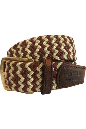 Men Belts - Men's Non-Toxic Dyes Red Brass Buckingham Elasticated Belt Medium Hortons England