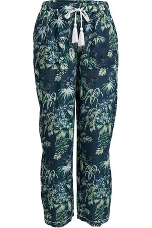 Women Pajamas - Women's Low-Impact Green/Blue Cotton Moondance Pyjama Bottoms Large Wallace Cotton