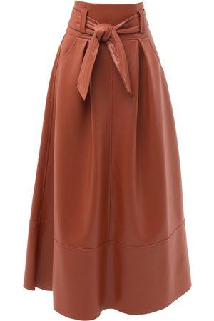 Women's Artisanal Yellow/Orange Leather Terracotta Faux Long Skirt Small Julia Allert
