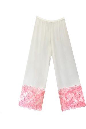 Women Sweats - Women's Artisanal Pink/Purple Orchid Chantilly Lace & Georgette Pantalons Large Carol Coelho