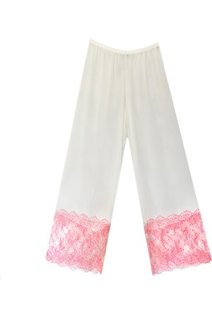 Women Sweats - Women's Artisanal Pink/Purple Orchid Chantilly Lace & Georgette Pantalons Small Carol Coelho