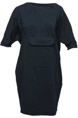 Women Casual Dresses - Women's Artisanal Black Cotton Non518 Bat Dress With Pocket Medium NON+