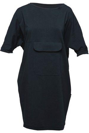 Women Casual Dresses - Women's Artisanal Black Cotton Non518 Bat Dress With Pocket Small NON+