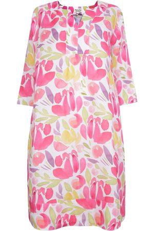 Women's Artisanal Pink Linen Custard Flower Tunic Dress Medium NoLoGo-chic