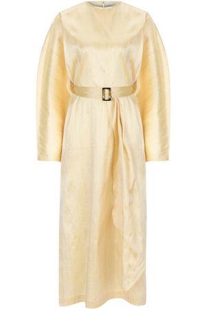 Women's Artisanal Gold Silk Nevada Kaftan Dress Large NAZLI CEREN
