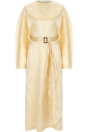 Women's Artisanal Gold Silk Nevada Kaftan Dress Medium NAZLI CEREN