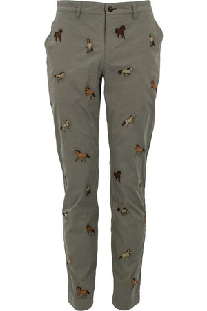 Men's Green Cotton Charles Horse Sage Chino 34in Lords of Harlech