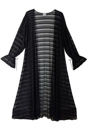 Women Leather Jackets - Women's Black Leather Geo Striped Lace Batwing Duster Large CG Loves