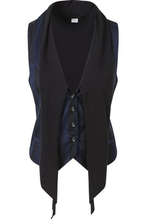 Women's Organic Black Cotton Cambridge Navy & Waistcoat Small Aqua & Rock