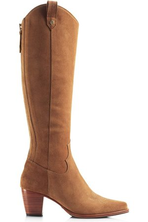 Women's Brown Leather The Knee High Rockingham - Tan Shoes 8 UK Fairfax & Favor