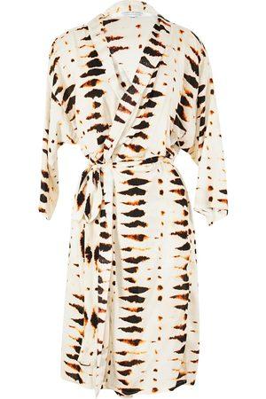 Women Kimonos - Women's Artisanal White Cinders Koi Kimono S/M Jennafer Grace