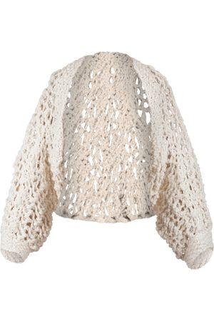 Women's Artisanal White Cotton Frenesí Hand-Knitted Bolero Soil & Co