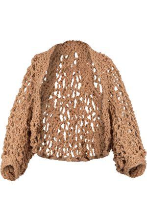 Women's Artisanal Brown Cotton Frenesí Hand-Knitted Bolero Soil & Co