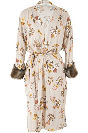 Women Kimonos - Women's Artisanal Brown Linen Hermia Faux Fur Koi Kimono S/M Jennafer Grace