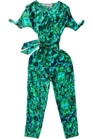 Women's Artisanal Green Silk Molpe Jumpsuit S/M Tramp In Disguise