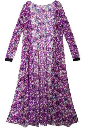 Women's Leather Flower Power Print Lace Duster Large CG Loves
