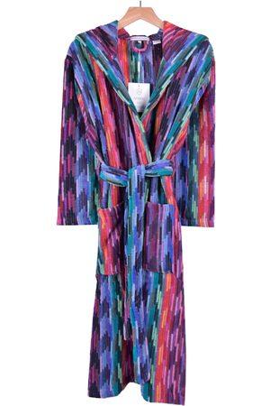 Purple Cotton Women's Hooded Dressing Gown - Multicolour Medium Bown Of London