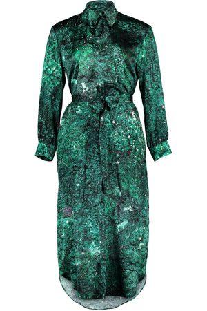 Women's Artisanal Green Silk Harry Malachite 100% Midi Shirt Dress S/M Märta Larsson