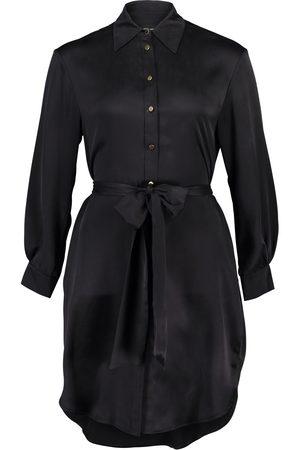 Women's Artisanal Black Silk Carte Blanche 100% Sandwashed Shirt Dress S/M Märta Larsson