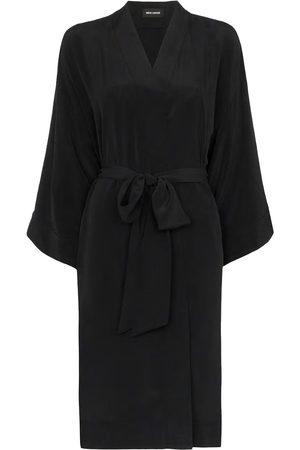 Women's Artisanal Black Silk Rossellini 100% Sandwashed Kimono M/L Märta Larsson