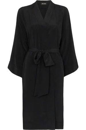 Women's Artisanal Black Silk Rossellini 100% Sandwashed Kimono S/M Märta Larsson
