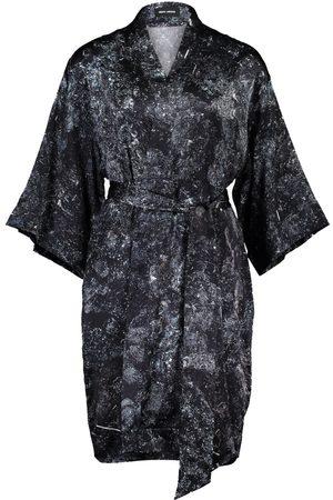 Women Kimonos - Women's Artisanal Black Silk Rossellini 100% Goethite Kimono M/L Märta Larsson